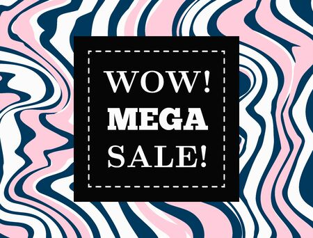 Rectangular abstract banner, sticker, coupon with frame and text Wow! Mega Sale! Horizontal vector illustration.