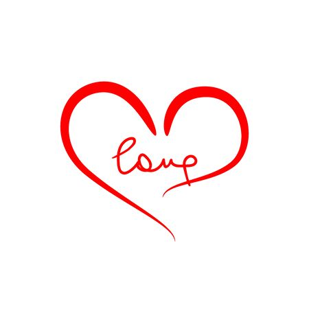 Heart shape and handwritten text Love. Doodle, sketch. Romantic vector illustration.