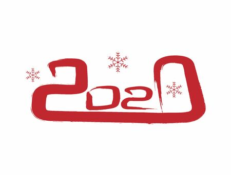 Number 2020 and snowflakes painted with a rough brush. Template for New Years design. Sketch, watercolor, ink, graffiti. Vector illustration.