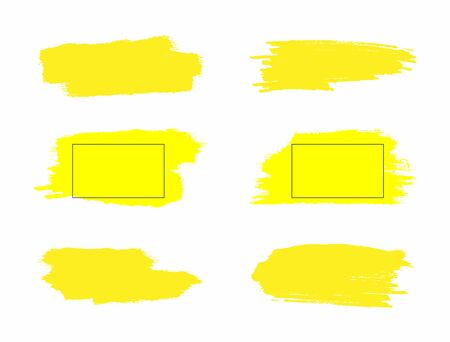 Set of yellow grunge spots. Collection of watercolor stains painted with a rough brush. Vector illustration. Çizim