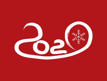 Number 2020 and snowflake drawn by hand with watercolor brush. Paint, sketch, brush, graffiti. New Year vector illustration.