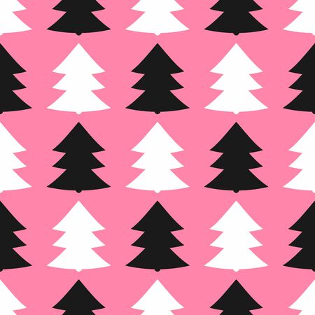 Simple seamless pattern with repeating christmas trees. Cute print. Vector illustration. Çizim