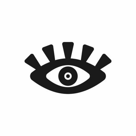 Unusual open eye with eyelashes. Icon, symbol. Flat vector illustration. Çizim