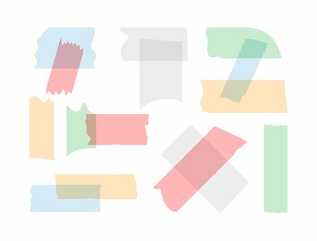 Set of torn pieces of colored adhesive tape. Vector illustration.