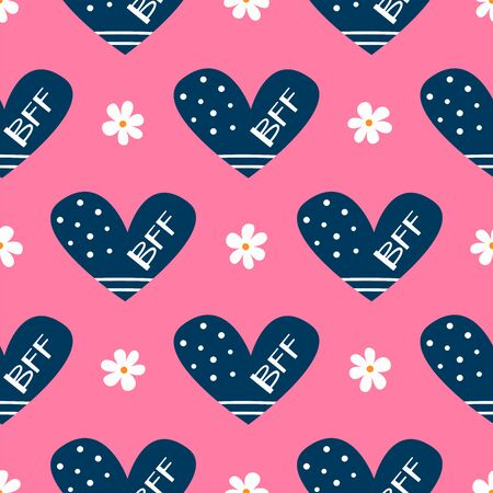 Cute girly seamless pattern. Repeating flowers and hearts with text BFF. Vector illustration. Çizim