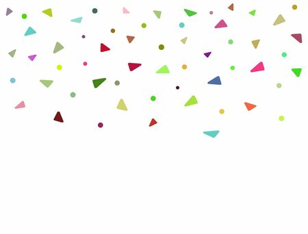 Rectangular background with colorful confetti. Falling triangular and round bright flat elements. Vector illustration.