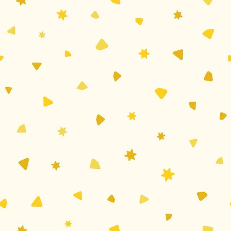 Festive seamless pattern with scattered confetti. Holiday print. Vector illustration.