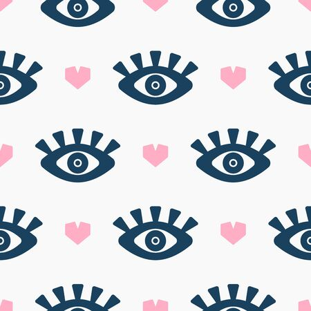 Seamless pattern with hearts and eyes. Repetitive girl print. Vector illustration. Çizim