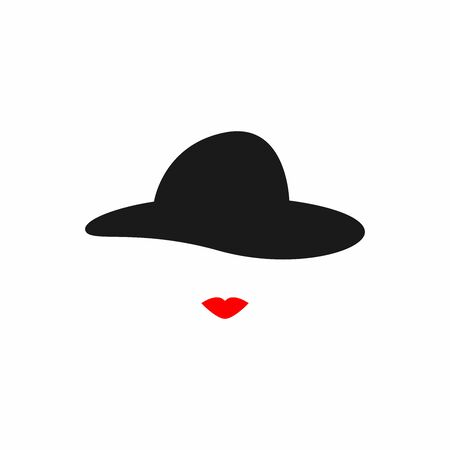 Silhouettes of lips and vintage womens hat. Icon, symbol, lady. Isolated vector illustration.