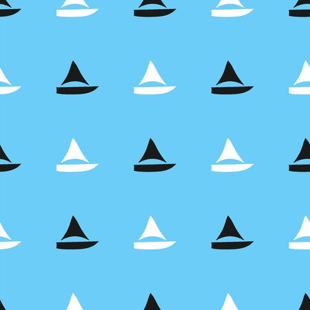 Marine seamless pattern. Simple print with silhouettes of sailboats. Vector illustration. Иллюстрация