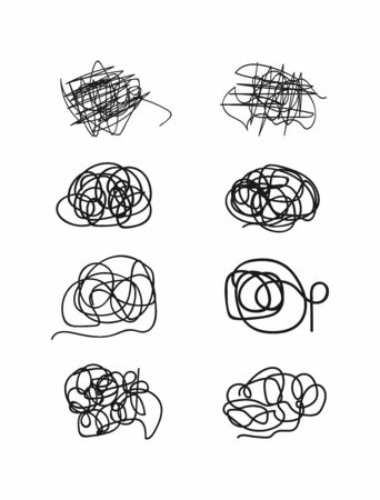 Set of abstract scribbles drawn by hand. Sketch, doodle, scrawl. Vector illustration. Çizim