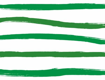 Horizontal grunge template. White background with green stripes drawn by hand with a rough brush. Watercolor, paint, sketch. Vector illustration.