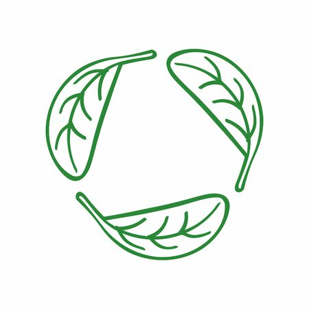 Icon recycling from the leaves. Eco symbol, emblem drawn by hand. Sketch. Isolated vector illustration.