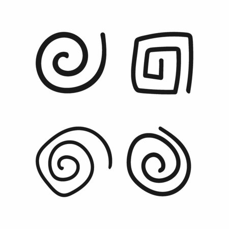 Set of uneven spirals drawn by hand. Doodle, sketch, scribble. Simple vector illustration. Çizim