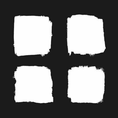 Set of white square grunge stains on black background. Watercolor, paint, sketch. Vector illustration.
