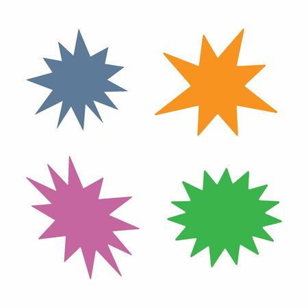 Set of isolated colored starbursts. Vector illustration.
