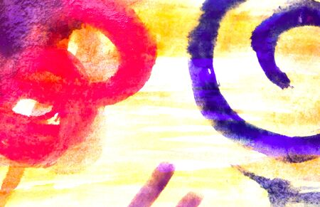 Imitation of abstract childrens drawing. Watercolor abstraction with different shapes.