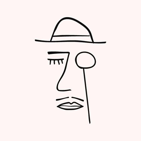 Abstract portrait of gentleman drawn by hand. Doodle, sketch. Ilustracja