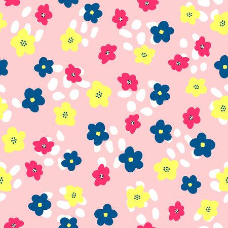 Cute floral seamless pattern. Feminine print with abstract shapes and flowers drawn by hand.