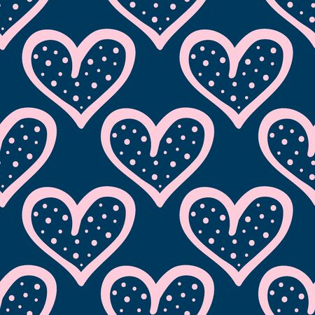 Repeated outlines of hearts with dots. Cute seamless pattern drawn by hand. Doodle, sketch.