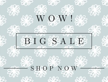 Horizontal template for discount coupon, banner, flyer, stickers, labels. Floral background and text Wow, Big Sale, Shop Now. Ilustracja