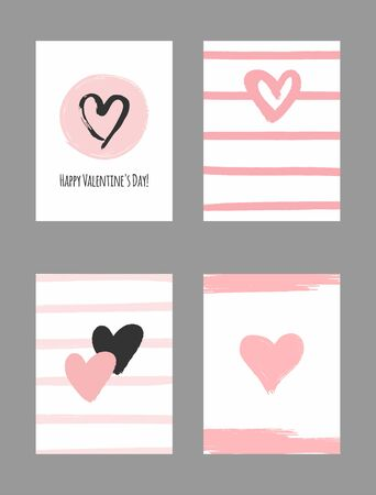 Set of templates for Valentines Day. Painted with a watercolor brush. Ilustracja