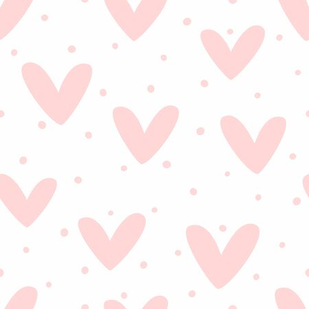 Romantic seamless pattern with hearts and dots. Cute girly print.
