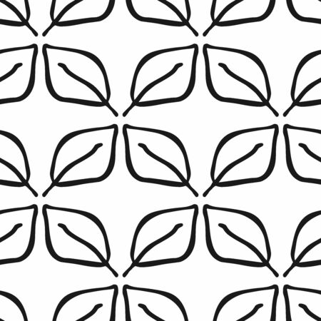 Seamless pattern with abstract leaves drawn by hand. Black and white floral print.