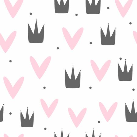 Cute seamless pattern for girls. Repeating print with crowns, hearts and polka dots. Ilustracja