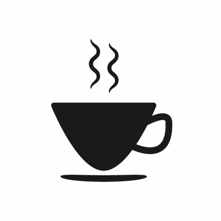 Silhouette of cup, saucer and hot steam. Icon, symbol. Isolated vector illustration.