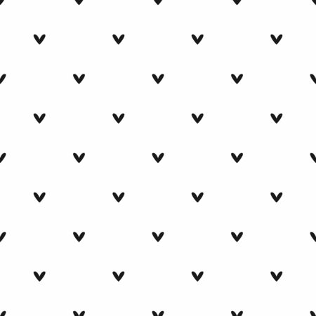 Seamless pattern with small black hearts on white background. Simple romantic background. Vector illustration.