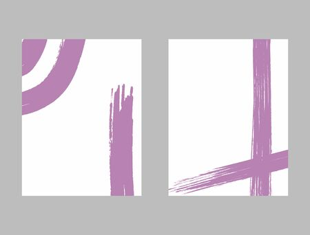 Vertical templates with brush strokes. Minimalist watercolor backgrounds. Paint, grunge, sketch. Vector illustration.