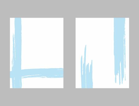 Vertical white templates with blue brush strokes. Minimalist watercolor backgrounds. Grunge, sketch, paint. Vector illustration.