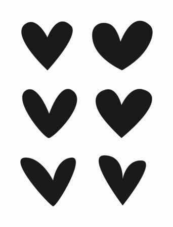Set of asymmetrical hearts. Isolated icons,  symbols, signs. Flat vector illustration.