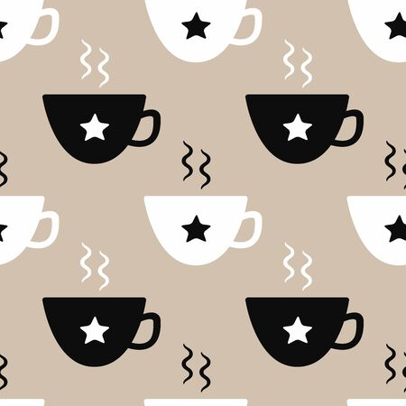 Seamless pattern with hot drink cups. Stylish flat print. Simple vector illustration.