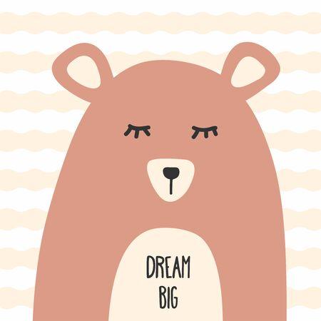 Funny sleepy bear with text Dream Big. Vector illustration for children. Ilustracja