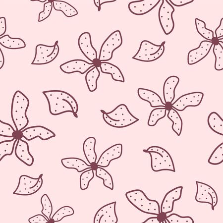 Floral seamless pattern drawn by hand. Feminine print with flowers and leaves. Sketch, doodle. Vector illustration.