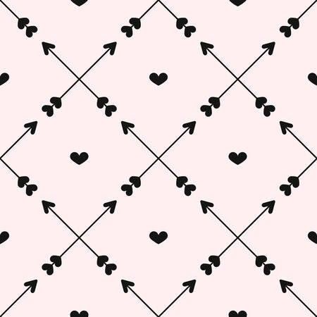 Romantic seamless pattern with hearts and crossed arrows. Cute print. Simple vector illustration.