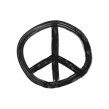 Peace sign drawn by hand. Grunge icon, sketch. Sketch, paint, watercolor, graffiti, ink. Isolated vector illustration. Ilustracja