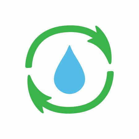 Sign of recycling and drop of water.   icon, symbol. Vector illustration.