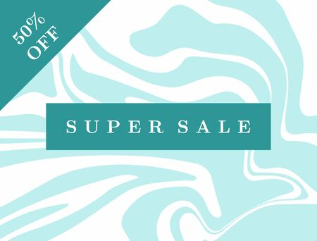 Stylish background with text Super Sale 50 % Off. Advertising poster, banner, sticker, coupon. Vector illustration.