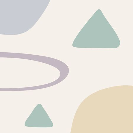 Abstract pastel template with geometric shapes drawn by hand. Square vector illustration.