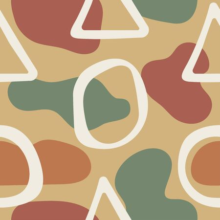 Seamless pattern with repeating organic and geometric shapes drawn by hand. Stylish modern print. Vector illustration.