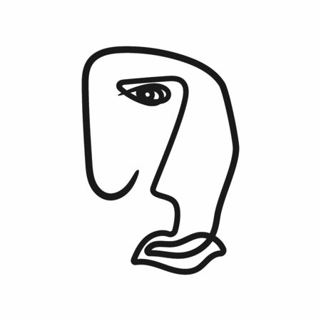 Abstract outline of human face. Portrait sketch. Vector illustration drawn by hand.