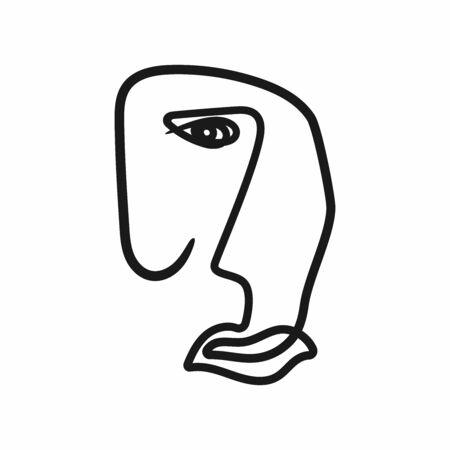 Profilo astratto del volto umano. Schizzo del ritratto. Illustrazione vettoriale disegnata a mano. Vettoriali