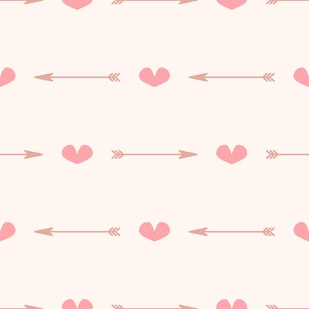 Cute seamless pattern with hearts and arrows. Girly romantic print. Simple vector illustration.