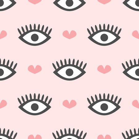 Cute seamless pattern with repeating eyes and hearts. Modern girly print. Simple vector illustration.