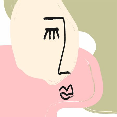 Modern stylish art with abstract sketch of human face. Painted with watercolor brush. Fashion vector illustration.