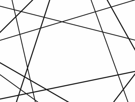 Rectangular pattern with random lines. Minimalistic chaotic background. Simple black and white vector illustration.