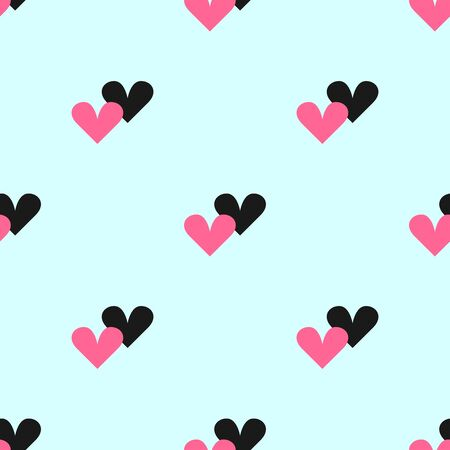 Simple seamless pattern with pairs of hearts. Romantic repeated print. Vector illustration.